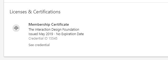 LinkedIn: Uploaded certificate