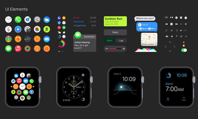 Free Apple Watch GUI, Hand Sketched Icons and Epic Outlines Font