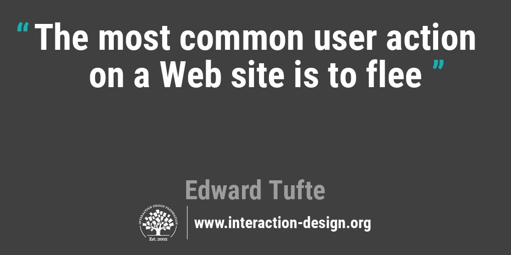 The most common user action on a Web site is to flee
