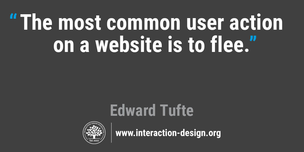 The most common user action on a website is to flee.